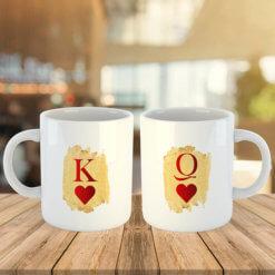 комплект керамични чаши за влюбени